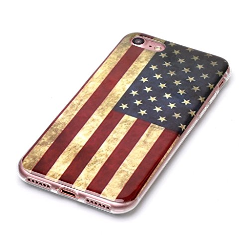 """Coque pour iPhone 7 / iPhone 8 ,IJIA Transparent USA Flag TPU Doux Silicone Bumper Case Cover Shell Housse Etui pour Apple iPhone 7 / iPhone 8 (4.7"""") USA"""