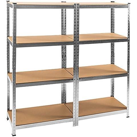 TecTake Estantería de taller con 8 estantes metálica 640kg garaje Capacidad de carga por estante 80kg 160x160x40cm