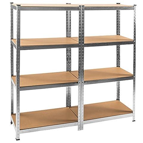 TecTake Étagère d'atelier avec 8 étagères charge lourde 640kg metallique bois 160x160x40cm 80 kg par niveau