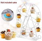 xiegons0 Présentoir Gâteau - Rotatif Ferris Roue Présentoir Cupcake, 8 Tasses Cirque Fête Dessert Sac de Courses Présentation pour Anniversaires Mariages - Blanc, Free Size...