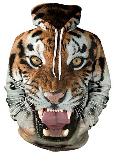 Winter Pullover Sweatshirt (Bfustyle Unisex 3D Digital gedruckt Santa Xmas Tiger Pullover mit Kapuze Geschenk Geschenk Hässliches Winter-Sweatshirt mit großer Tasche)