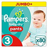 Pampers Baby Dry Pants Windeln Gr. 3 (6-11 kg), Jumbo Plus, 1er Pack (1 x 80 Stück)