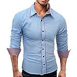 OSYARD Männer Shirt Mode Herren-Hemd Einfarbig männlich Casual Langarm-Hemden,Bügelfrei Slim-Fit Tailliert Uni-Farben für Anzug mit Krawatte Business Hochzeit Freizeit