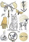 TATATAT das Streetart Label aus Berlin Temporäre Tattoos #003 Tattoos by R.Brückner Tätowierungsaufkleber Tattoo Tat Damen Herren Körperkunst Aufkleber (Gold)