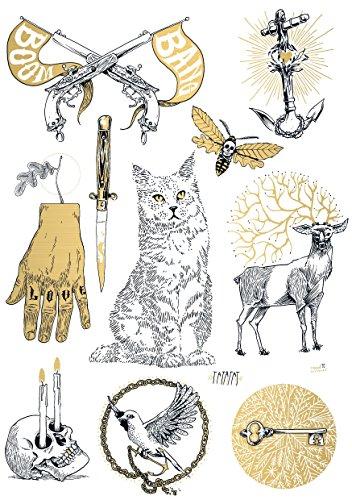 TATATAT das Streetart Label aus Berlin Temporäre Tattoos #003 Tattoos by R.Brückner Tätowierungsaufkleber Tattoo Tat Damen Herren Körperkunst Aufkleber (Gold) (Gebet Halloween-party Für Die)