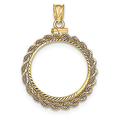 Lünette aus 14 Karat Gelbgold, handgefertigt, Diamantschliff, Schraubverschluss, 5 Dollar (Dollar-münze Lünette)