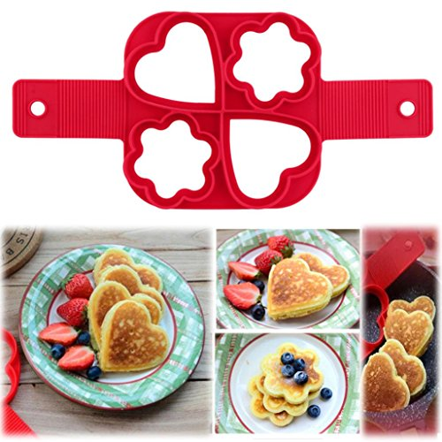 Omelette Crêpe, Malloom® Fantastique Et rapide et facile à faire une cuisine parfaite Outil Pancakes Bricolage à quatre trous (Rouge)
