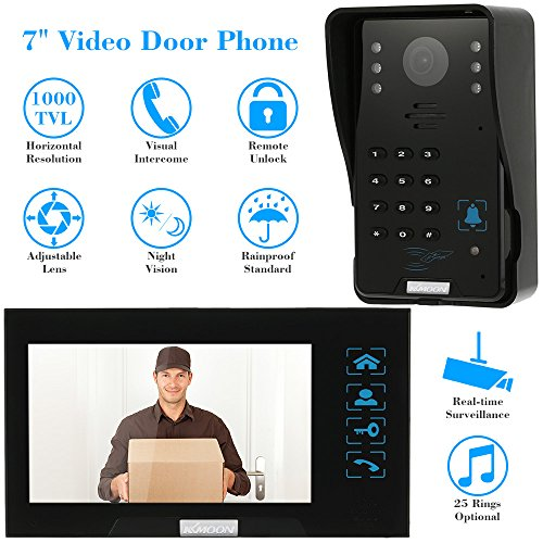"KKmoon 7"" Wired Video Door Phone Doorbell Intercom Entry System Kit with 1 Camera 1 Monitor Doorbell Door Chime Intercome Touch Button ID Cards/Code/Remote Controller Unlock/ Night Vision,RFID card,Remote controller Rainproof Intercom"