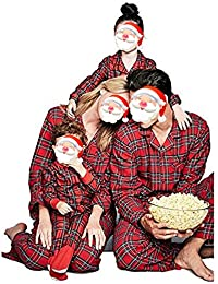 99fea8b66a Juleya 2 PCS Family Matching Christmas Pyjamas Set Dad Mom Kids Baby Plaid  Sleepwear Outfits