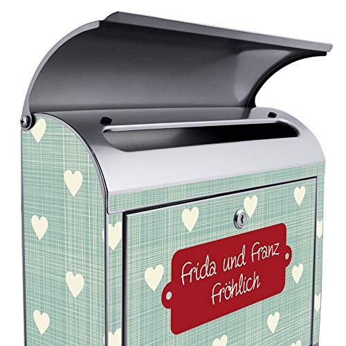 BANJADO Design Briefkasten mit Zeitungsfach, 2 Schlüssel, A4 Einwurf, silber pulverbeschichtet, mit Motiv WT Muster Herzen - 4