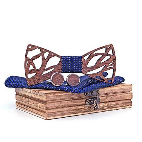 Hochwertige Anpassung Herren Geschenk Einfache Exquisite Durchbrochene Fliege Premium Vintage Handgemachte Holzkragen Blume Schal ManschettenknöPfe Holzkiste Verpackung Schmuck ()