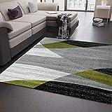 Wohnzimmer Teppich Modern Geometrisches Muster Gestreift Meliert in Grün Weiss Schwarz Grau 160x220 cm
