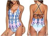 Modfine Femme Maillot de Bain Une Pièce Dos Nu bandeau Bikini Imprimé S-XXL