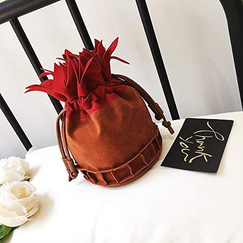 RKY Umhängetasche - PU, kleine frische und reizende Kettentasche Lässig Kreativer Spaß-Cartoon-Peeling Ananas Draw Bucket Bag - 2 Farben erhältlich /-/ (Farbe : Rot) -