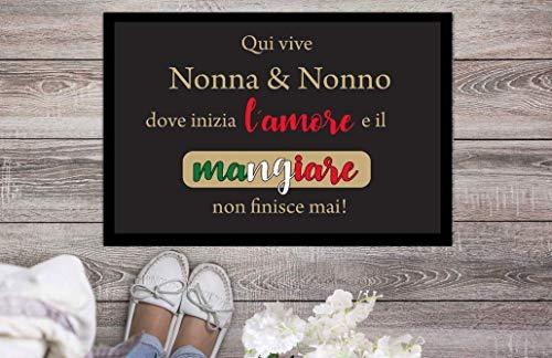 Fußmatte Qui vive nonna & nonno dove inizia l´amore e il mangiare non finisce mai 50cm x 35cm Geschenk Italien Italiener Italienisch