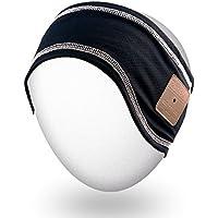 Rotibox Musique Unisexe Bluetooth Headband Sweatband avec casque sans fil Headsets Haut-parleurs Mic mains libres pour la gymnastique Exercice Running Ski Snowboard Camping Patinage, cadeau de Noël - Noir