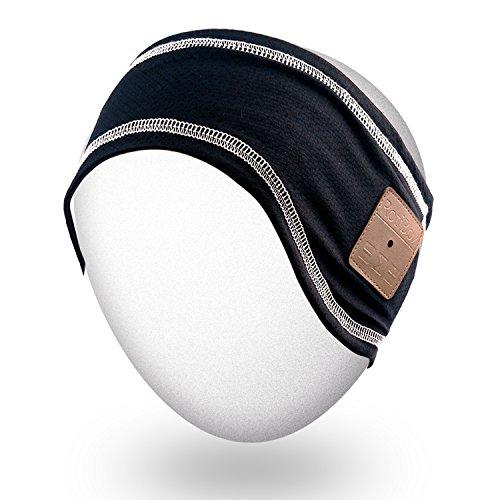 Rotibox Unisex Musica Bluetooth fascia Parasudore con le cuffie senza fili Cuffie Altoparlanti Mic Hands-free per esercitazione di ginnastica esecuzione Sci Snowboard Camping Pattinaggio, regalo di Natale - Nero