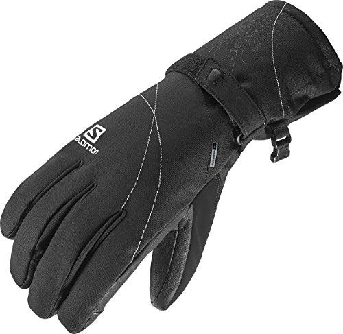 Salomon L36337600 Guanti da sci Resistenti all'acqua Sottili Donna, Frontside-Skiing-Gloves, Utilizzabili con Touchscreen, Palmo in pelle, PROPELLER DRY W, Taglia: S, Nero