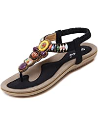 katliu Damen Sandalen Zehentrenner Sommer Strand Flach Böhmen Sandaletten Clip Toe Strass Perlen Schuhe, Black 39