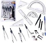 Farbe technik- 20PC Kompass/Math Set mit Swing Arm Winkelmesser (15,2cm), Geometrie-Set für Studenten, Trennwand, Geodreieck, Lineal, Winkelmesser etc. perfekte Geschenk