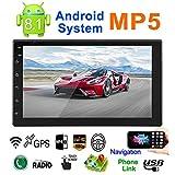 Doppio DIN Android 8.1 Auto MP5 Player Touch screen da 7 pollici 2 Navigazione GPS DIN Radio AM/FM Bluetooth Chiamate a mani libere Mirror Link Vista posteriore