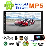 talogca Radio de Coche Autoradio Bluetooth, Android 8.1 Reproductor mp5 GPS 7 Pulgadas 2 DIN Estéreo de automóvil con Pantalla Táctil, Support Bluetooth/Am/FM/WiFi,navegación GPS, Vista Posterior, I