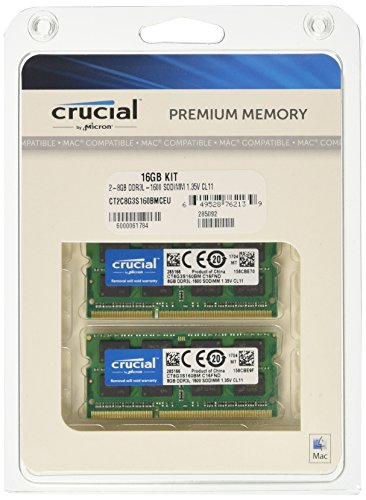 Crucial 16GB Kit DDR3 1600 MT/s SODIMM 204-Pin Mémoire pour Mac - CT2C8G3S160BMCEU PDF