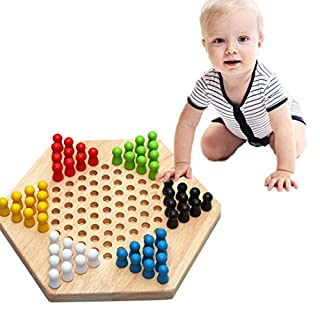 Wooden Hexagonal Checkers Puzzle Intelligence Toy (24X21X5cm),Mamum Educational Wooden Checkers Building Block Puzzle Child Funny Toys