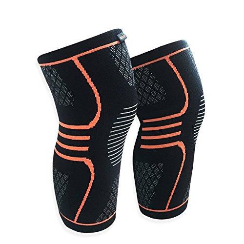 Rodillera de compresión EveShine (1 Par) Rodillera de Soporte de Punto con Tiras de Gel para Correr Deportes Baloncesto Desgarro de Meniscos Artritis Alivio para el Dolor en las Articulaciones
