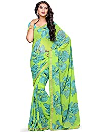 Alveera Latest Collection Floral Printed Laced Border Georgette Free Size Saree With Blouse - Green