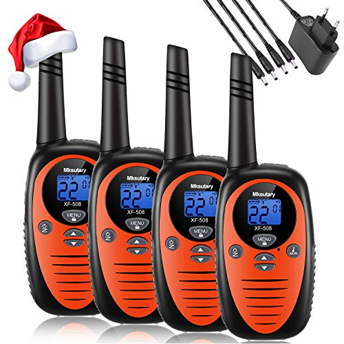 Mksutary Funkgeräte Walkie Talkie, Walkie-talkies, PMR-Handfunkgerät Walkie Talkie Kinder 3KM Reichweite 8 Kanle mit LCD-Display VOX 4er Set Orange