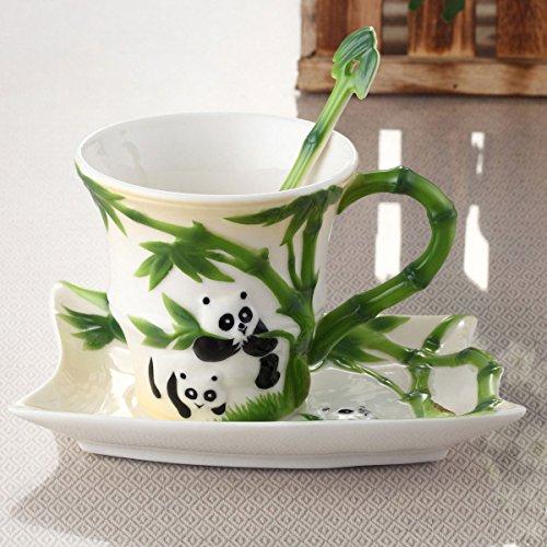 Yuyuan Boîte cadeau haut de gamme en émail Porcelaine Panda Bambou de tasse à café et soucoupe en céramique, Bambou Panda Tasse