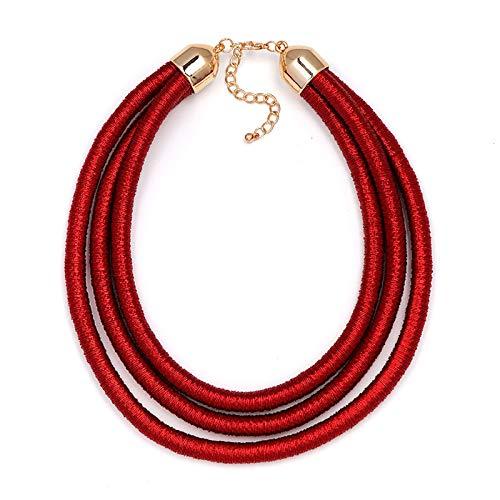 QMangel Damen Halskette,Original Übertrieben Design Multi-Layer Leder Kette Quaste Schlüsselbein Kette Halsband Collier Modeschmuck Personalisierte Kleidung Party Wild Multi-Layer Halskette Rot