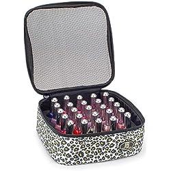 Roo Beauty - Estuche para esmalte de uñas, bolsa de almacenamiento de manicura, soporte para cosméticos de maquillaje en leopardo de nieve