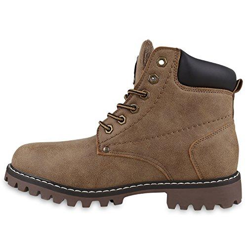 Gefüttert Herren Worker Boots Schnürstiefel Schuhe Profilsohle Dunkelbraun