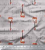 Soimoi Grau schwere Leinwand Stoff Noten & Gitarre