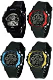 Pappi Boss Sports Digital Multicolour Dial Watch for Men and Kids – Pack of 4 Combo Offer