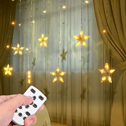 Lixada Twinkle Star 94 LEDs Vorhang Licht USB Lichterketten mit IR-Fernbedienung 8 Blinkmodi Warmweiß Dekoration Fensterbeleuchtung für Weihnachten Hochzeit Home Decoration