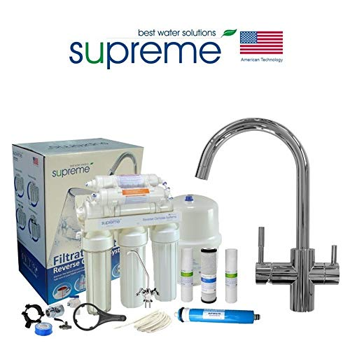 Sistema de ósmosis inversa Supreme de 6 niveles, incluye grifo Rainbow Plus cromado de 4 vías, bomba y lámpara UV, sistema de agua potable, filtro de ósmosis, filtro de membrana, filtro de ósmosis