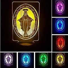 Idea Regalo - Luce Notturna Optical Illusion Lamp La Vergine Maria 7 Gradiente Di Colore 3D Illusione Visiva Ha Condotto La Luce Di Notte Lampada Da Notte Per Bambini Camera Home Decor Toy Good Luck Regali