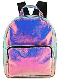 Flada chica holograma PU cuero Backapack viaje bolsa de hombro casual mochila