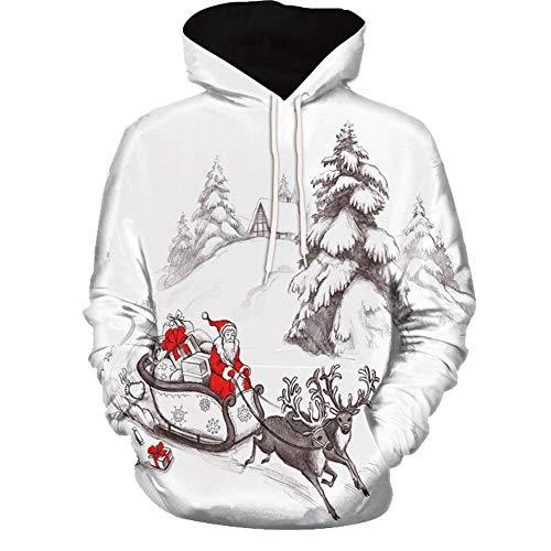 (SEWORLD Weihnachten Vintage Christmas Männer Frauen Modus 3D Weihnachten Drucken Langarm Paare Hoodies Top Bluse Shirts(Mehrfarbig7,EU-36/CN-M))
