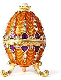 0aef28dd986 QIFU Style Vintage Peinte à la Main Œuf Fabergé Forme Bijoux Boîte à Bijoux  avec de