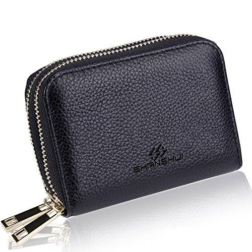 Damen Kreditkartenetui echtes Leder RFID Blocking Kreditkartentasche Portemonnaie und Geldbörse in einem (Schwarz) (Geldbörse Portemonnaie Schwarz Damen Kleine)