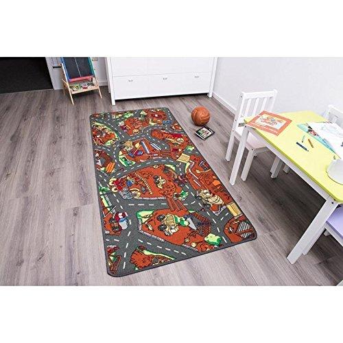 Kinderteppich Spielteppich BAUSTELLE - 1,60 x 2,00 - Schadstoffgeprüft ✓ Anti-Schmutz-Schicht | Auto-Spielteppich, Straßen-Teppich für Jungen & Mädchen | Verkehrsteppich für Fußbodenheizung geeignet