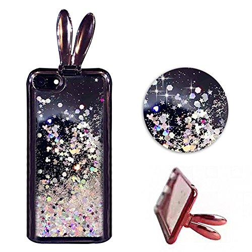 Etui pour iPhone 6 6s Transparente Housse,Vandot TPU Coque iPhone 6 6S Fashion Diamant Design Case Gel Silicone Souple Couverture iPhone 6 6S 4.7 Pouces Légère Slim Flexible Coque Protecteur Fonction  Oreilles de Lapin-Noir