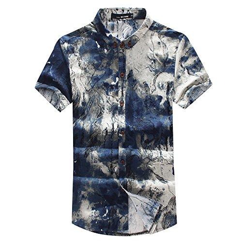 Herren Urlaub Strand Hawaii-Motiv Hemd Reise kurzärmelig Shirt