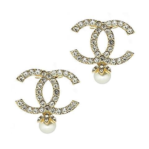 HAND XZ-XN-004 Paquet d'or de 2 belles broches élégantes en cristal incrustées couronnées avec une perle d'effet perle - Taille Appx 44 x 42 mm - Les broches ont une épingle de sécurité sur le dos - Décoration élégante et belle pour toutes les occasions
