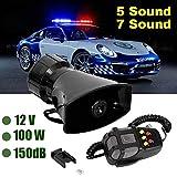 Amyove 7-Sound Loud Car Alarm Allarme Police Fire Siren Air Horn Altoparlante PA 12V 100W