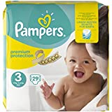 Pampers Premium Protection Taille 3 Midi 5–9 kg Porter Pack, pack de 4 (4 x 29 pièces)